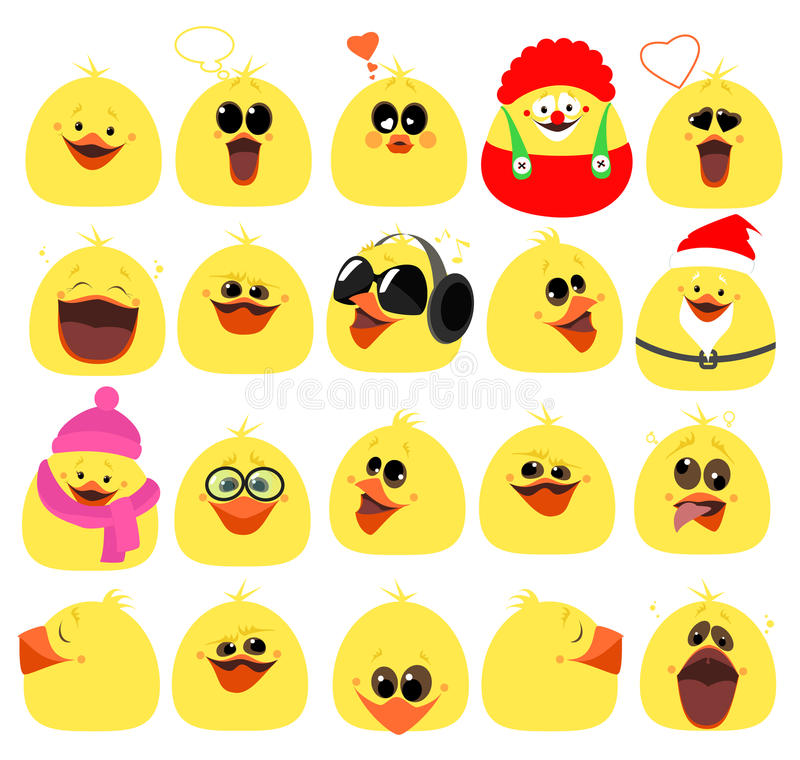 Emotions. A large set of emotions chicken. Cartoon characters. V royalty free illustration