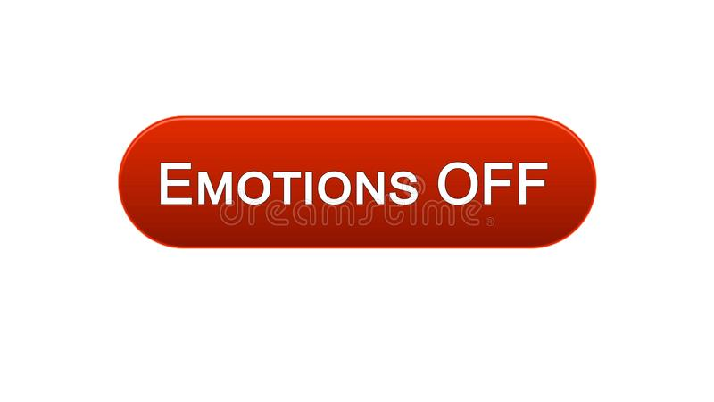 Emotions off web interface button red color, feelings expression, site design. Stock footage vector illustration