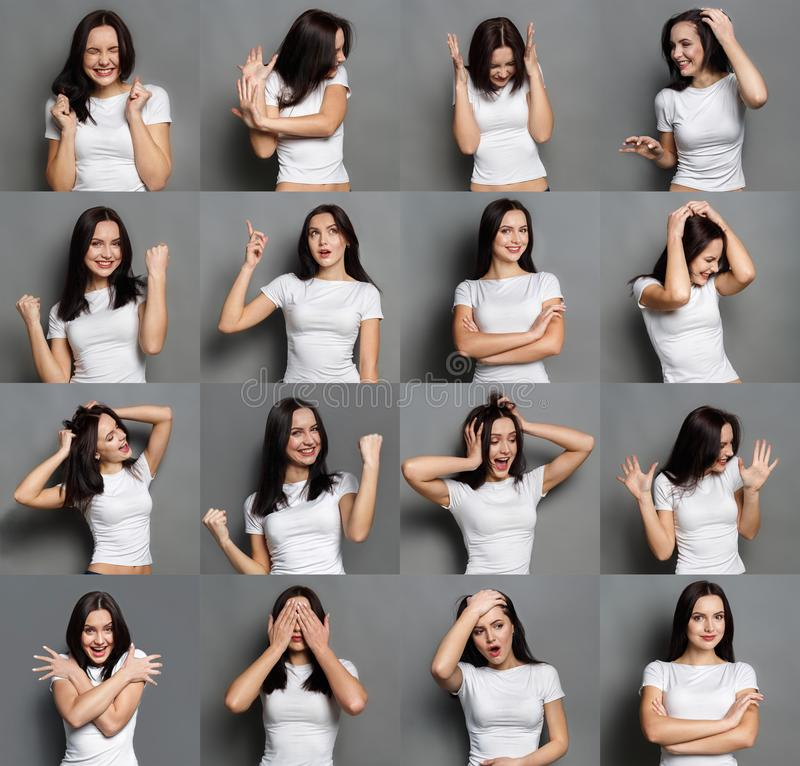 Emotions set of young woman at studio background royalty free stock image