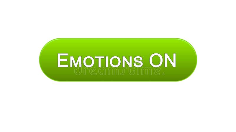 Emotions on web interface button green color, feelings expression, site design. Stock footage stock illustration
