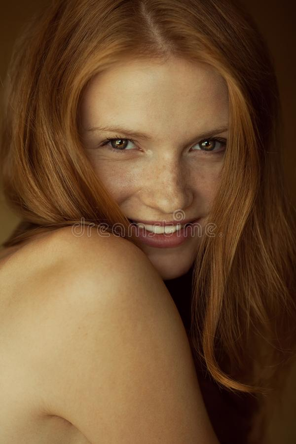 Free Emotive Portrait Of A Fashionable Model With Red Ginger Wavy Hair And Natural Make-up. Great White Shiny Smile. Perfect Skin Royalty Free Stock Photo - 149524465