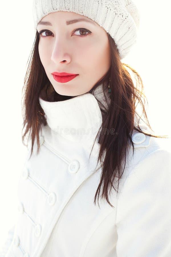 Free Emotive Portrait Of Fashionable Model In White Coat And Beret. Stock Image - 44058671
