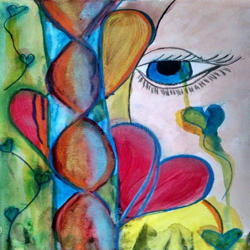 Emotives-Aquarell-Skizzen-gemischte Medien weissen Zusammensetzungs-Zusammenfassungs-Herz-emotionale fallende Herz-Tränen der Lie stock abbildung