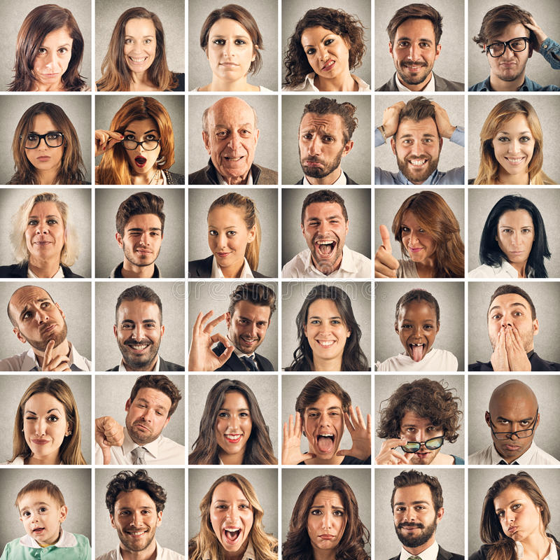 Emozione del collage della gente fotografie stock