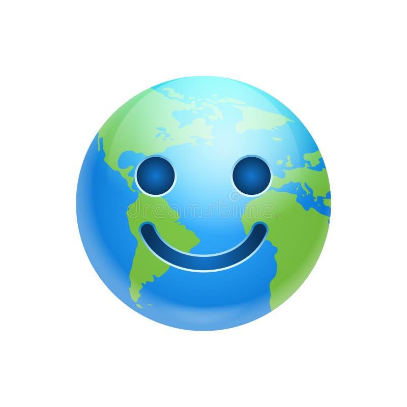 Emozione divertente del pianeta dell'icona felice di sorriso del fronte della terra del fumetto illustrazione vettoriale