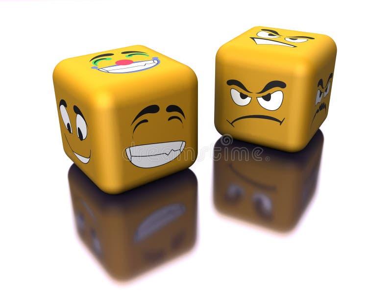 Emozione rispecchiata con i dadi illustrazione di stock