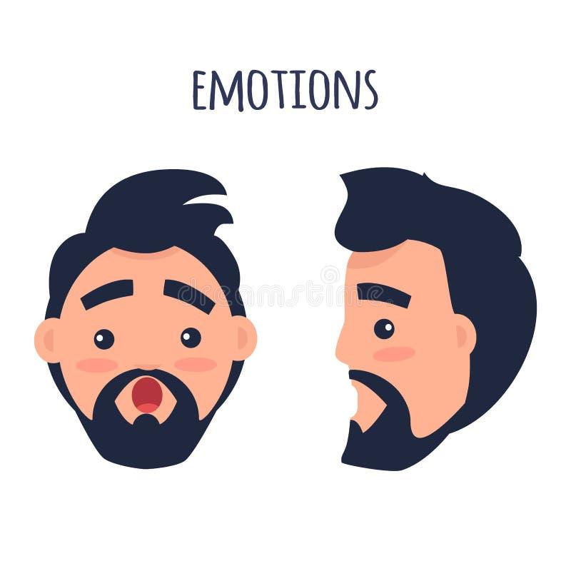 Emozione sorpresa Fronte dal vettore differente di angoli illustrazione di stock
