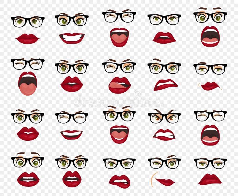 Emozioni comiche Donna con le espressioni facciali di vetro, gesti, entusiasmo di tristezza di repulsione di sorpresa di felicità illustrazione vettoriale