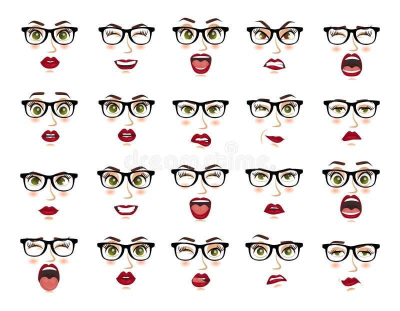 Emozioni comiche Donna con le espressioni facciali di vetro, gesti, entusiasmo di tristezza di repulsione di sorpresa di felicità illustrazione di stock