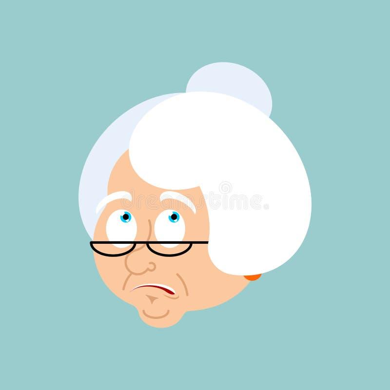 Emozioni confuse della nonna La nonna del fronte è emoji perplesso illustrazione di stock