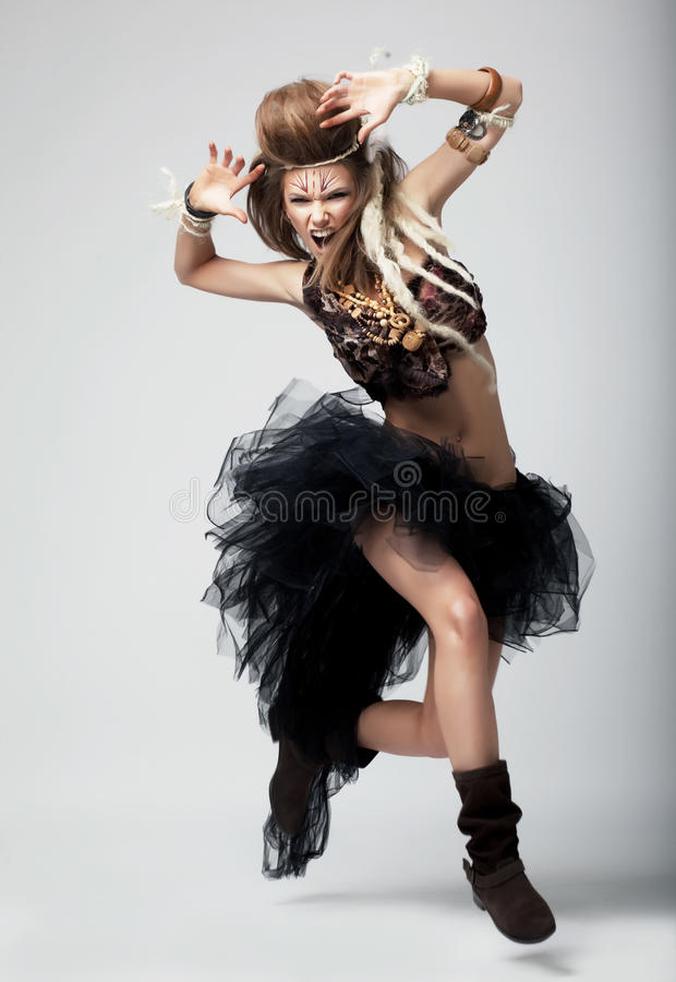 Emozioni. Dancing espressivo della donna. Teatro immagine stock libera da diritti