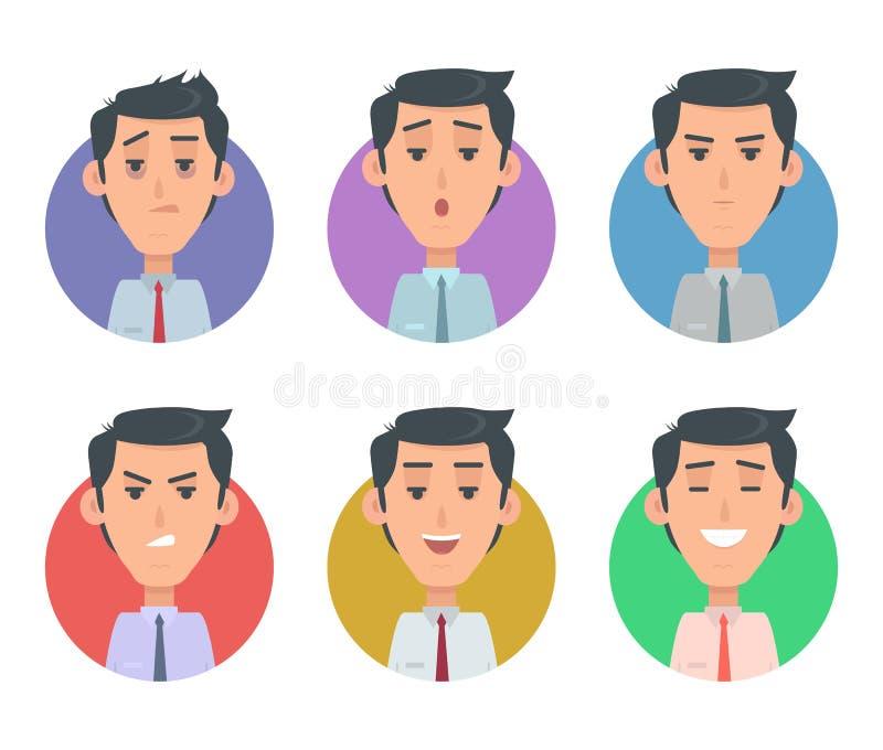 Emozioni di Userpics dell'avatar Varietà di Feeings maschio royalty illustrazione gratis