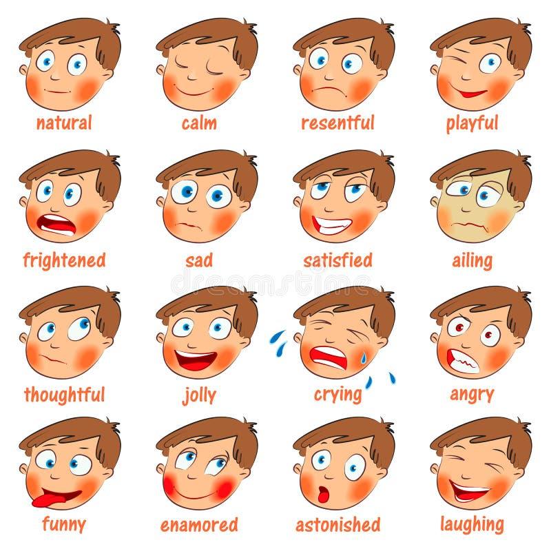 Emozioni. Espressioni facciali del fumetto illustrazione vettoriale