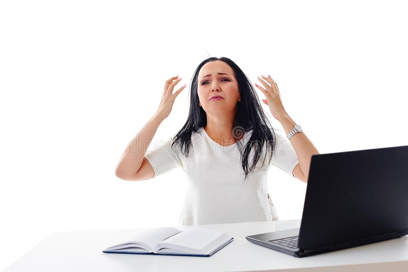 Emozioni negative Capo pazzo wo furioso della donna di affari pazza arrabbiata fotografie stock libere da diritti