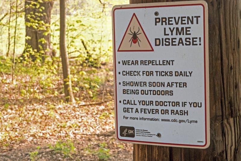 Empêchez la maladie de lyme du panneau d'avertissement de coutils de cerfs communs image libre de droits