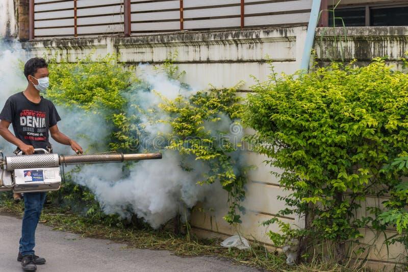 Empañando la matanza del mosquito del espray del DDT para el virus proteja foto de archivo