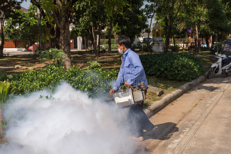Empañar el mosquito de la matanza del espray del DDT foto de archivo libre de regalías