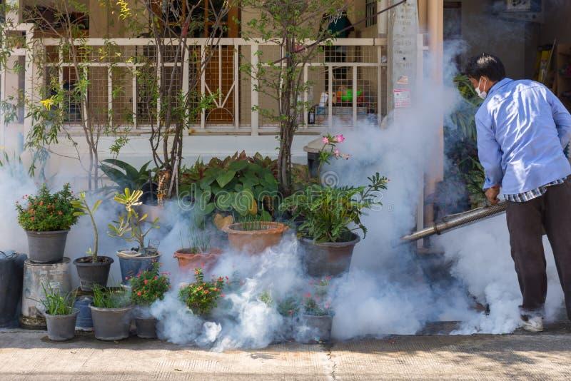Empañar el mosquito de la matanza del espray del DDT imagen de archivo
