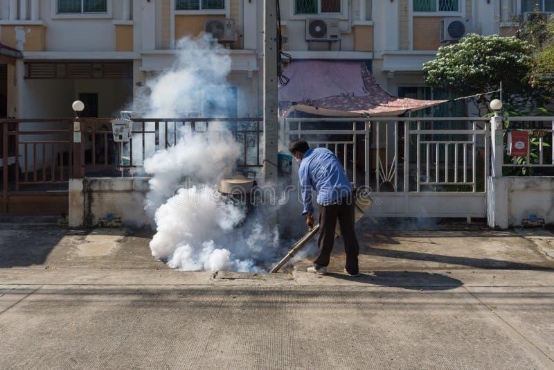 Empañar el mosquito de la matanza del espray del DDT imágenes de archivo libres de regalías