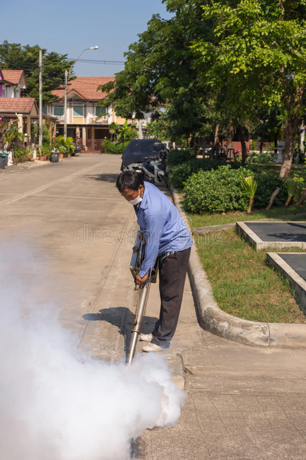 Empañar el mosquito de la matanza del espray del DDT fotografía de archivo
