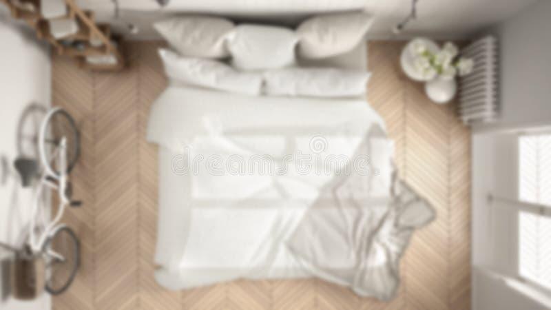 Empañe el dormitorio moderno interior w del diseño del fondo, blanco y gris libre illustration