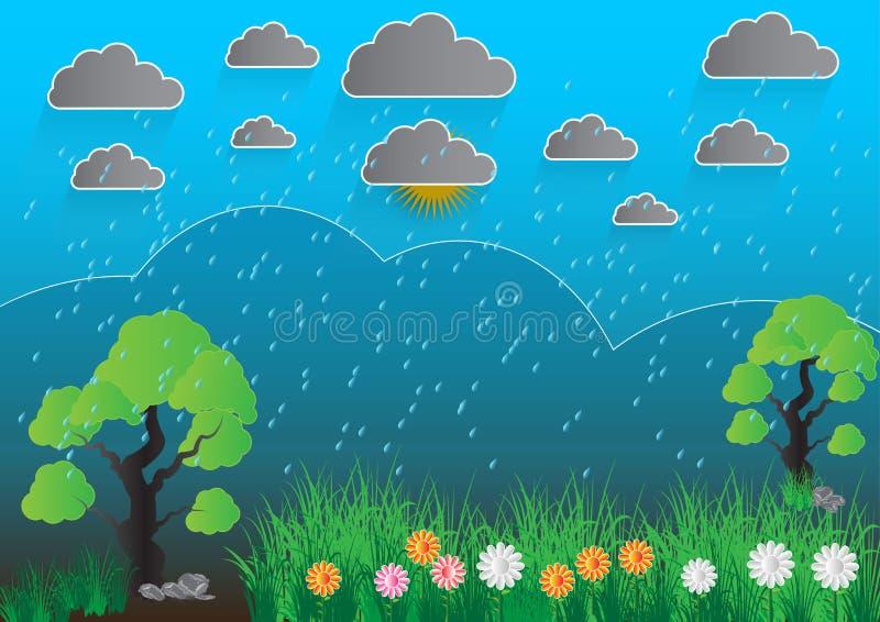 Empañe el fondo abstracto, gotas de lluvia en el parabrisas libre illustration