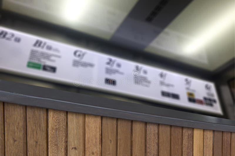 Empañe el fondo de la madera de la terraza y del letrero iluminado el panel imagenes de archivo