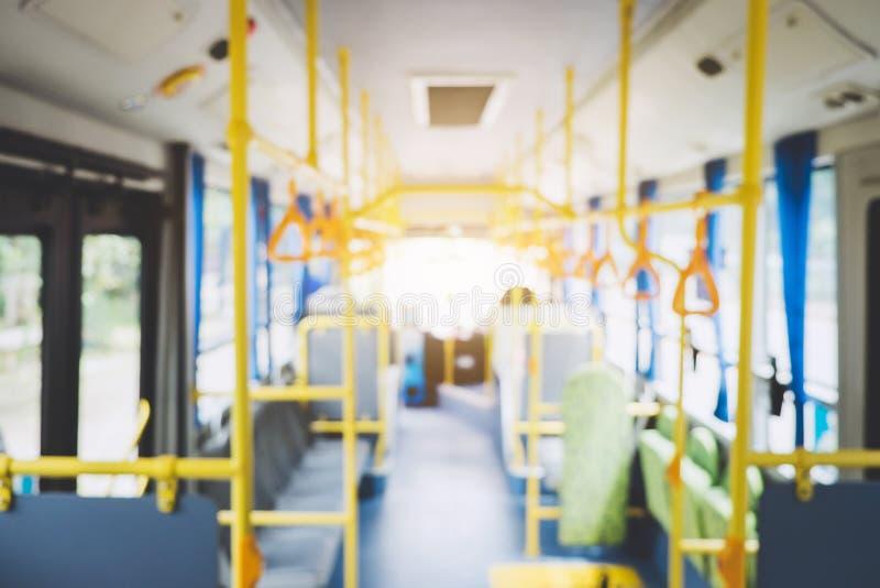 Empañe la imagen del interior en autobús, transporte, turismo y camino de la ciudad imágenes de archivo libres de regalías