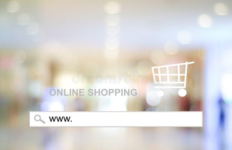 Empañe la luz de la tienda y del bokeh con la barra de la dirección, fondo en línea de las compras imagenes de archivo