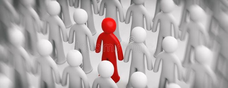 Empañe a la muchedumbre de figuras humanas blancas, una figura roja en el fondo blanco, bandera ilustración 3D stock de ilustración