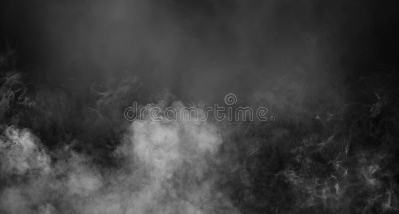 Empañe o fume el efecto especial aislado Fondo blanco de la nubosidad, de la niebla o de la niebla con humo fotos de archivo