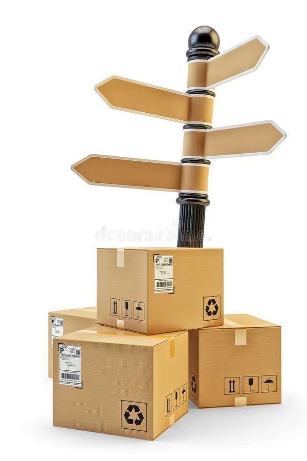 Empacota a entrega, os pacotes transporte, a logística e o conceito da distribuição ilustração royalty free