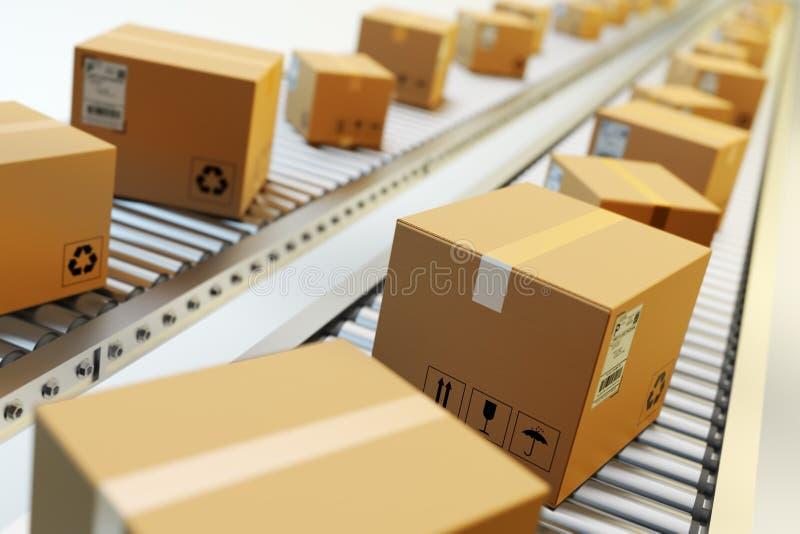 Empacota a entrega, serviço de empacotamento e parcela o conceito de sistema do transporte ilustração stock