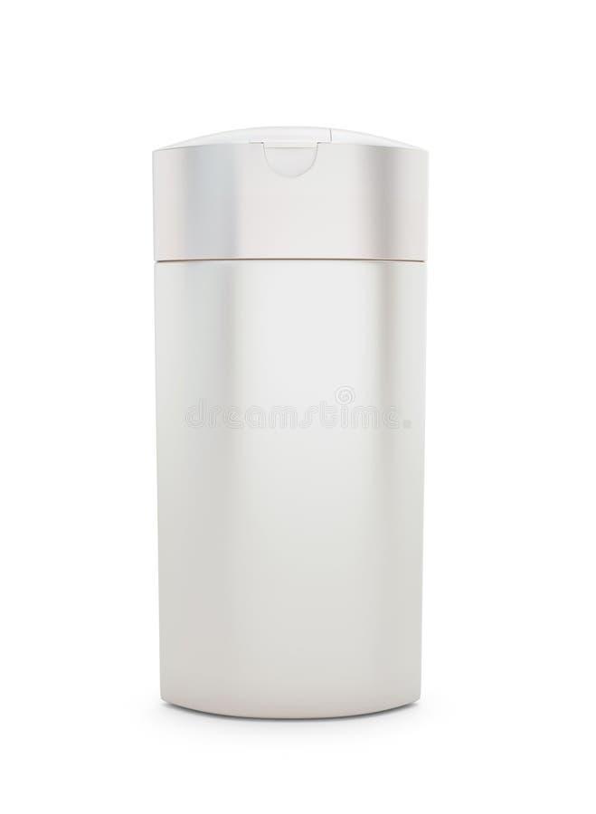 Empacotamento cosmético branco, champô plástico ou garrafa do gel do chuveiro ilustração do vetor