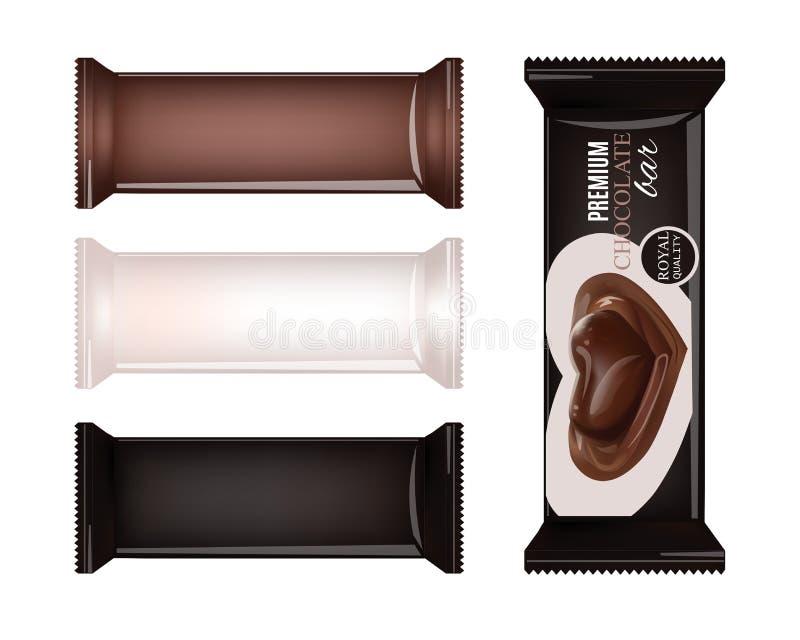 Empacotamento de alimento vazio do vetor para o biscoito, bolacha, biscoitos, doces, barra de chocolate, barra de chocolate, peti ilustração stock