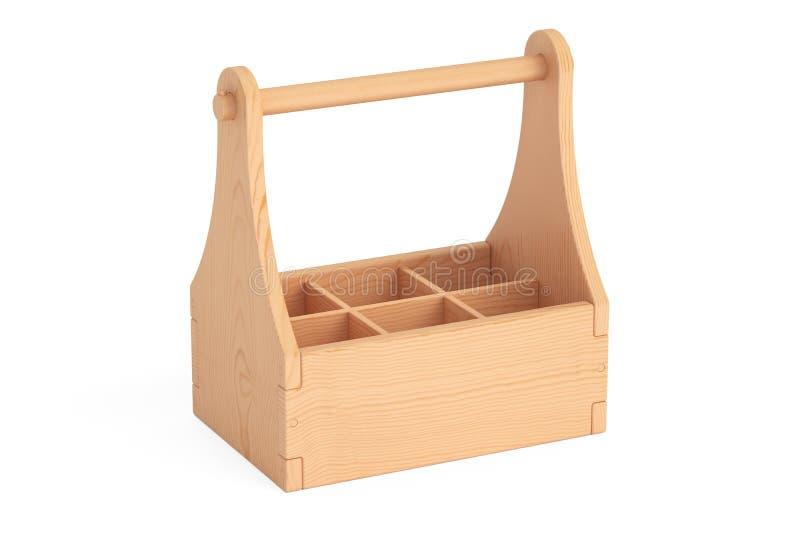 Empacotamento de madeira vazio, caixa para garrafas rendição 3d ilustração do vetor