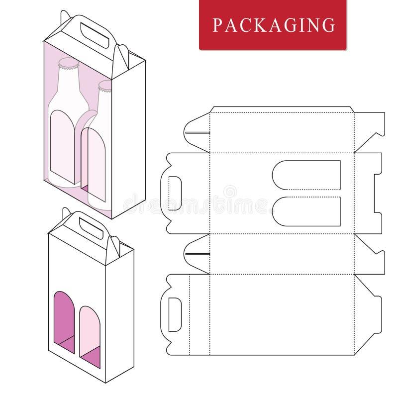 Empacotamento para a garrafa da lata Ilustração trocista varejo branca isolada do upVector da caixa ilustração do vetor