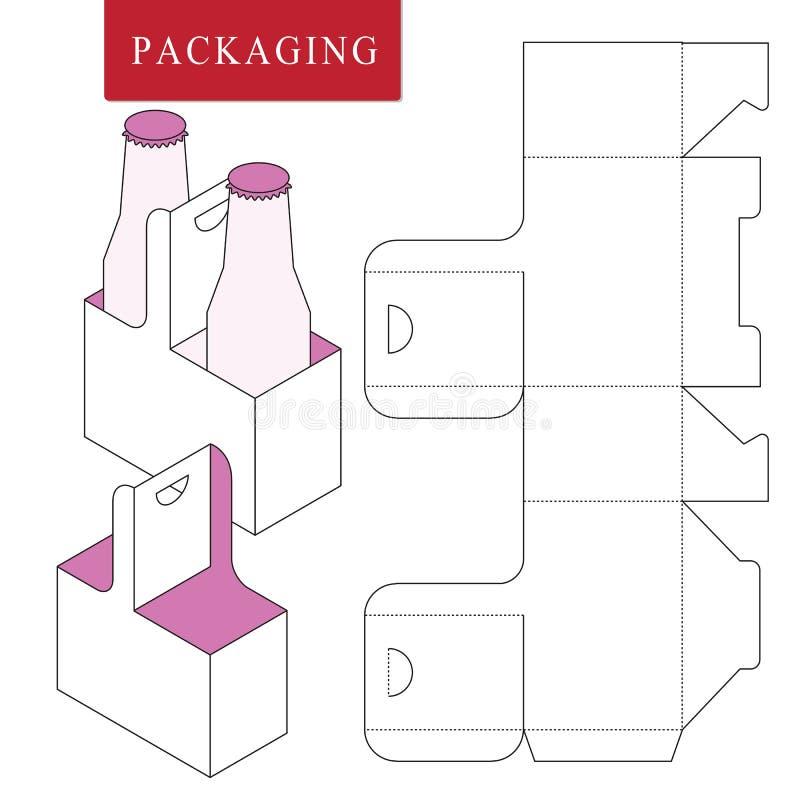Empacotamento para a garrafa da lata Ilustra??o trocista varejo branca isolada do upVector da caixa ilustração royalty free