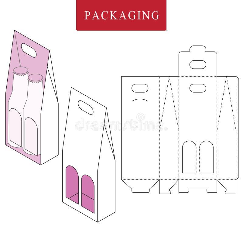 Empacotamento para a garrafa da lata Ilustra??o trocista varejo branca isolada do upVector da caixa ilustração stock