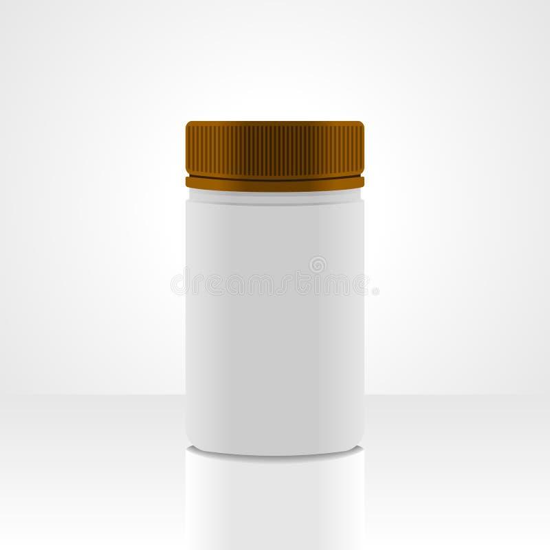 Empacotamento plástico branco do frasco, isolado no fundo branco ilustração do vetor