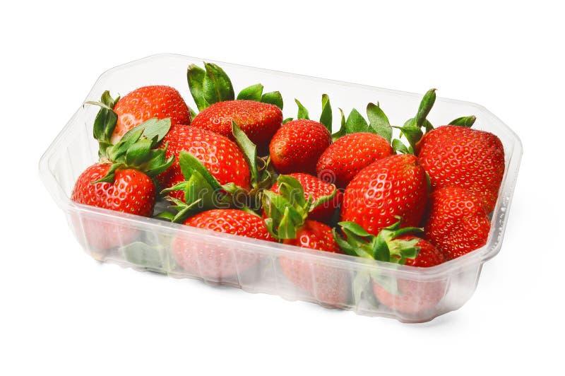 Empacotamento plástico de morangos suculentas frescas Cores saturadas Fundo isolado branco imagem de stock royalty free