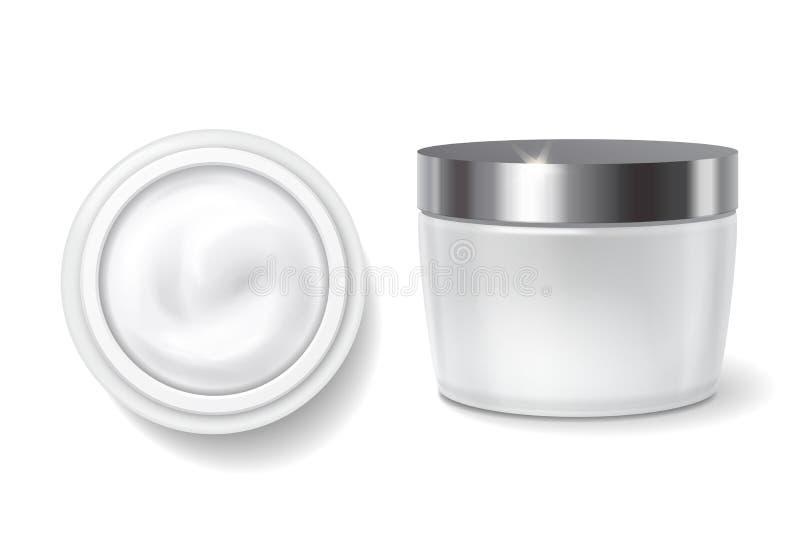 Empacotamento redondo do creme, frasco cosmético branco dos cuidados com a pele vetor do molde da vista superior e lateral ilustração stock
