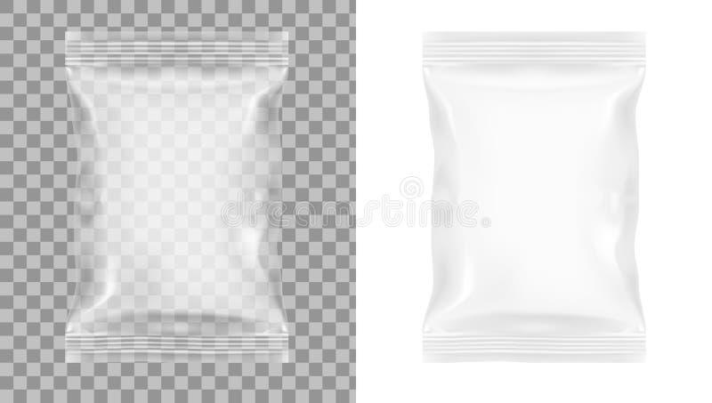 Empacotamento transparente para petiscos, microplaquetas, açúcar, especiarias, ou o outro alimento ilustração stock