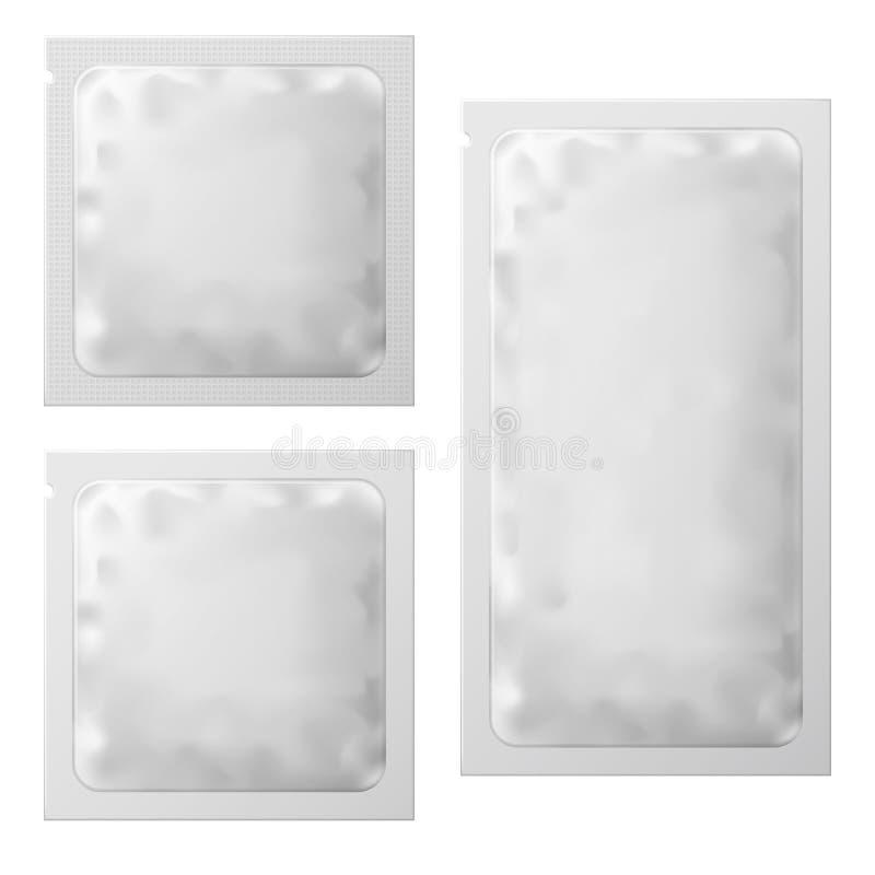 Empacotamento vazio branco realístico do molde do saquinho Pacote molhado da medicina do malote das limpezas do preservativo ou d ilustração do vetor