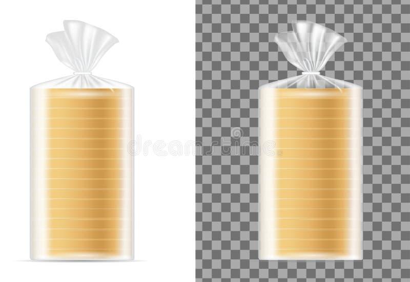 Empacotamento vazio transparente com pão branco ilustração royalty free
