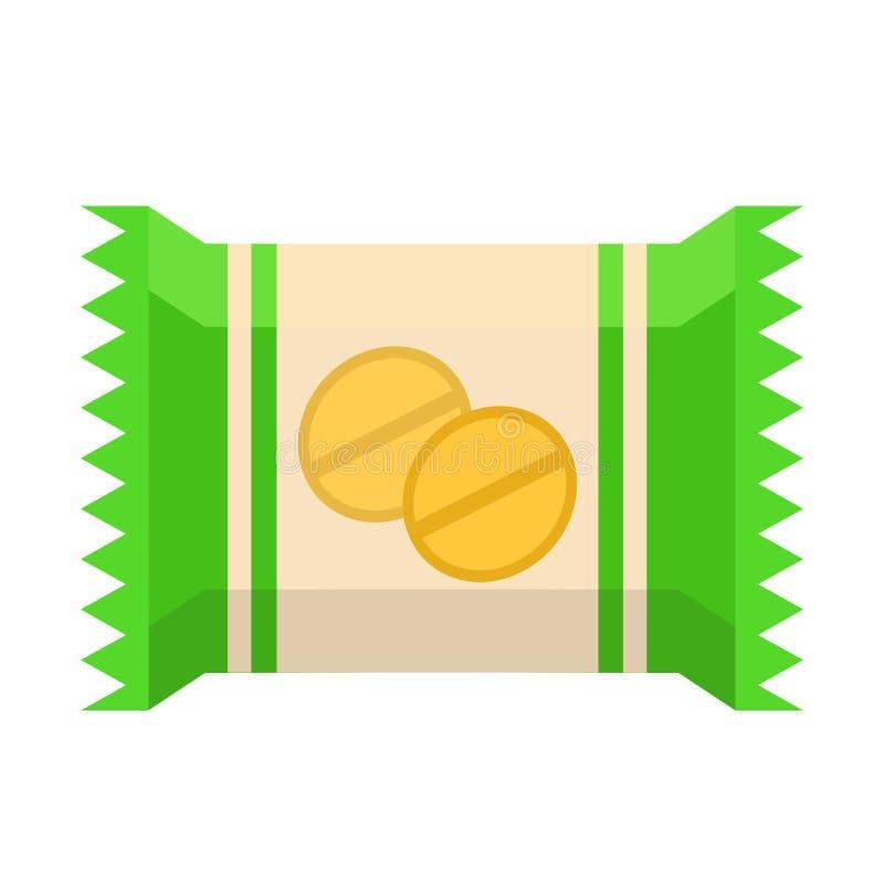 Empacotando com o biscoito doce no estilo liso na ilustração branca, conservada em estoque do vetor ilustração stock