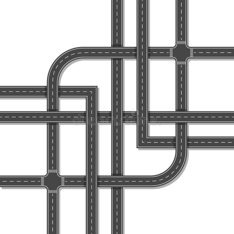 Empalme de camino complejo aislado en un fondo blanco Visión superior imagenes de archivo