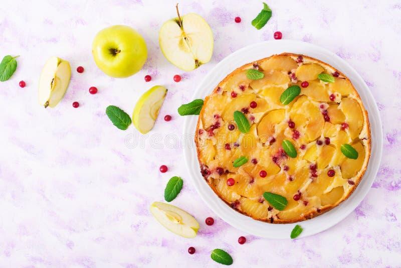 Empanada apetitosa con las manzanas y los arándanos en un fondo ligero Visión superior fotos de archivo