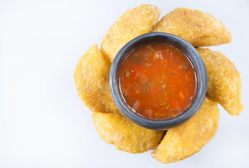 Download Empanada Colombiano Con La Salsa Picante Imagen de archivo - Imagen de llenado, comida: 100534657
