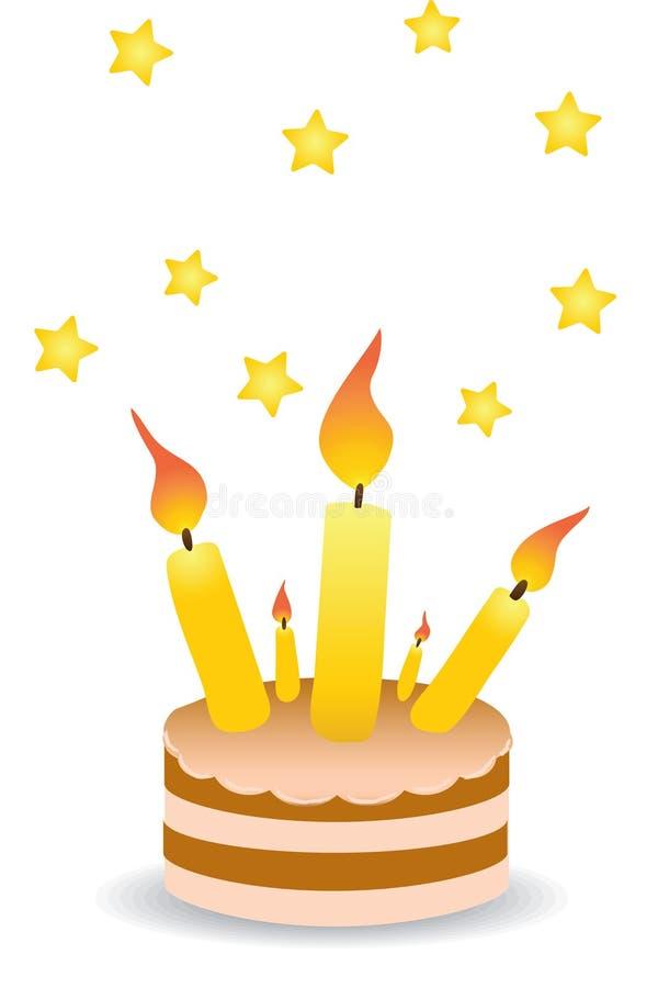 Empanada con las velas stock de ilustración
